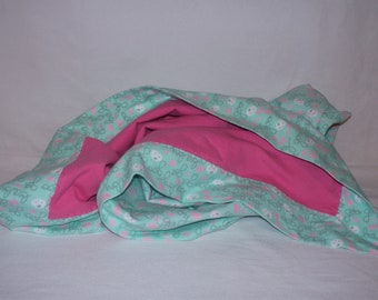 """33"""" x 33"""" Baby Receiving Blanket in Flannel with Pink with Light Teal Print says """"goo goo ga ga baby"""" with Hearts Back and 2"""" Border"""