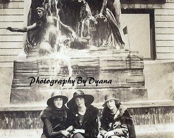Vintage Fountain Photo Three Women Chicago download
