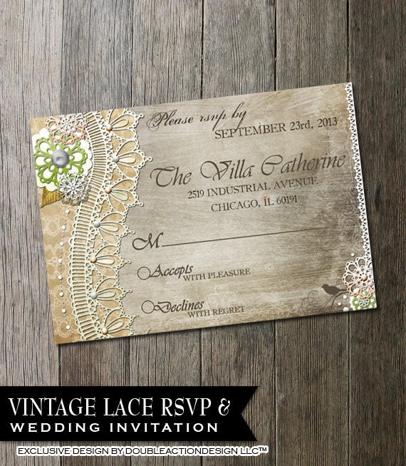 Rustic Wedding Invitation RSVPDIY wedding invite RSVP with – Diy Wedding Invitations Lace