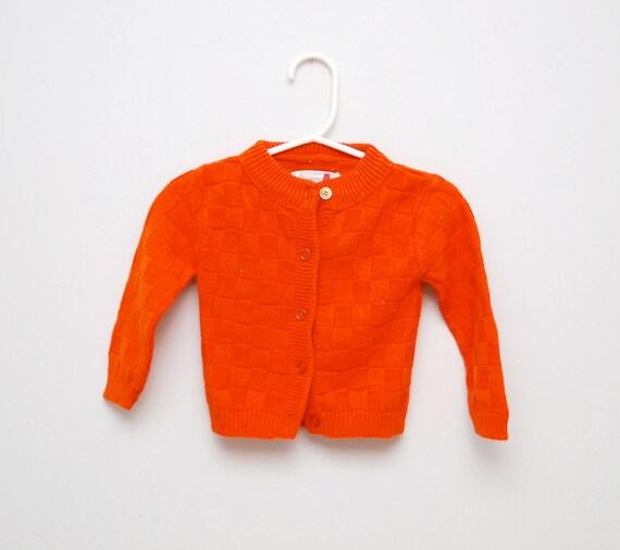 Vintage pumpkin basketweave baby cardigan sweater