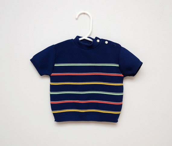 Vintage 1970s navy blue striped baby sweater