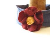 Felted Burgundy Vintage Wool Flower Headband for Girl
