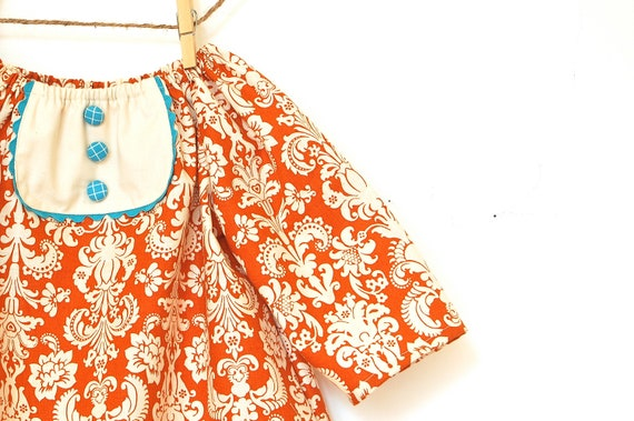 Girls 3/4 Sleeve Tunic Dress with Bib / Rust Orange Damask / 0-6 months to 3T / Made to Order