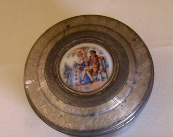 Vintage Tin Wedding Ring Bearer Trinket Box Collectible Victorian Scene FREE SHIPPING SPECIAL