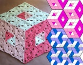 Optical Illusion Crochet Pattern. 3D illusion stacked cubes No 2. Rhombus granny square pattern. Tumbling blocks, diamond stacked blocks