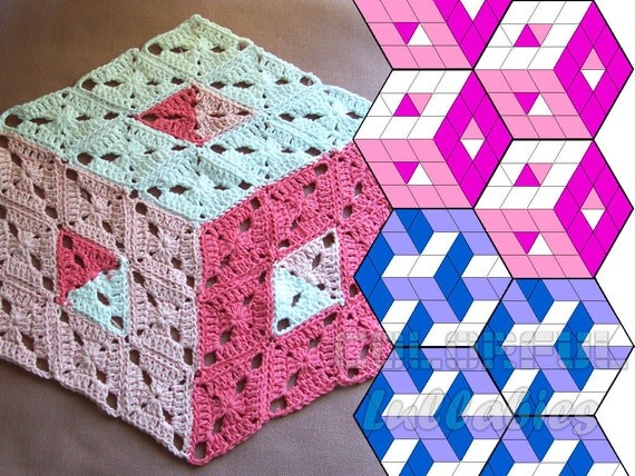 Optical Illusion Crochet Pattern. 3D illusion stacked cubes No 2. Rhombus granny square pattern. Tumbling blocks, diamond stacked blocks