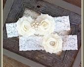 Wedding Garter- Vintage Wedding Bridal Garter and Toss Garter- Ivory and Pearl Rhinestone Garter-Toss Garter