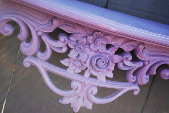 Vintage Shelf Ornate Flower Scroll Upcycled Wall Hanging Pale Purple Fluer De Lis Decor, Shabby Chic, Modern, Great Gift