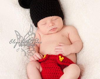 READY TO SHIP --- Mickey Mouse Outfit and Diaper Cover - Photo Props, Photography Props, Boys, Halloween Costume, Minnie Mouse, Girls