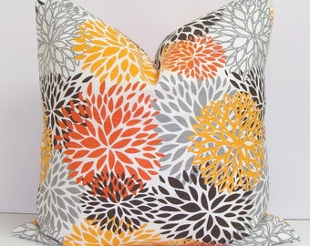 PILLOW.Orange.Gray.26x26 inch.Euro Pillow. Decorative Pillow Cover.Houseware.Home Decor.Home Accent.Blooms..Orange.Yellow.Gray Cushions.Cm