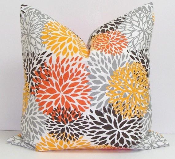 gray sofa orange pillows - photo #3