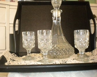 CLEARANCE SALE..... Pottery Barn Trays, Decanter and 4 Glasses