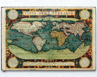 "Retro Wood Wall Art 8x12"" 20x30 cm Typus Orbis Terrarum from 1589, Vintage World Map, Wall Hanger, Art Deco Room Decor, Shabby chic"