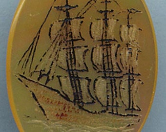 STICKPIN   Mother of Pearl Scrimshaw of Ship   Item No: 10965