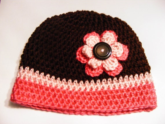 Crochet Flower Hat 0-3 Month or 3-6 Month Two tone Pink and Brown Flower Hat with cute matching button (MADE TO ORDER)
