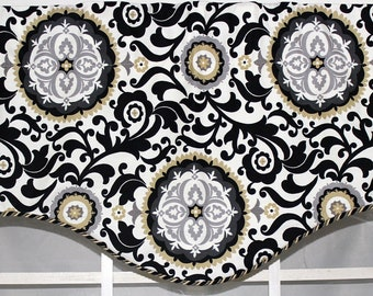 Central park shaped valance with or without twisted cord trim on bottom edge  in grey  and black .or grey and lavender