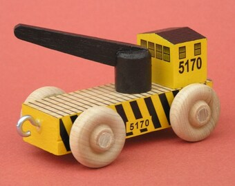 Wooden Toy Train Crane Car