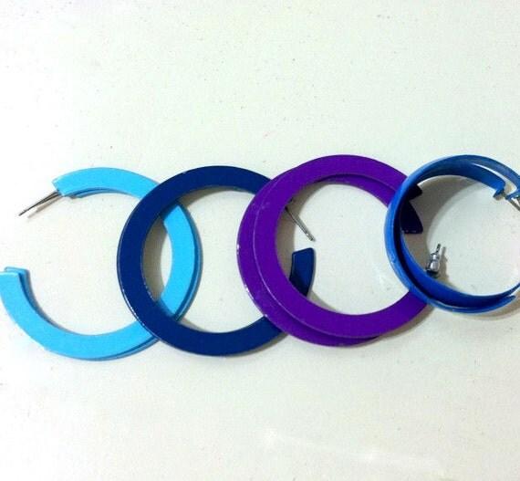 Sale - Vintage Blue & Purple Hoop Earrings 1980's
