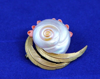 Women's A.M. Double VINTAGE Sea Shell BROOCH, Jewelry Pin