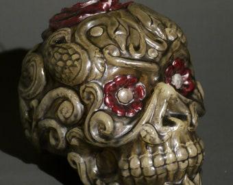Large Handmade Day of the Dead Skull Candle