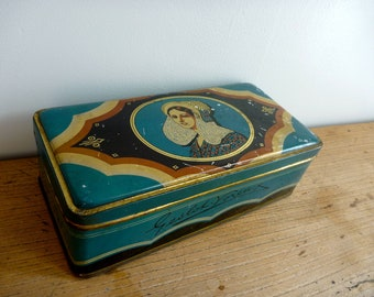 Retro Graphic Litho Portrait Tin, Vintage French Metal Box, Hinged Lid, Turquoise Blue
