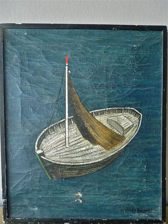 Vintage Oil on Canvas, Seascape, Original Painting, Signed,  Blue
