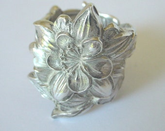 Sterling Silver Spoon Ring Ornate Fork Jewelry --  Columbine Watson. Made to your requested size.Spoon and Fork Jewelry.