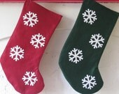 RED Snowflake Christmas Stocking, Ready to Ship