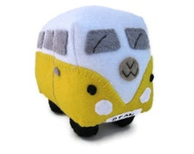 VW Campervan Gift Felt Car Toy, VW Campervan Plush Collectible, Personalized Yellow VW Bus, Made to Order