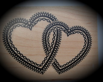 Large Wood Mounted Rubber Stamp Hearts