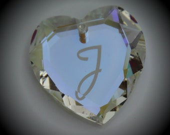 "18mm Limited Genuine Swarovski Crystal Glacier Blue w/engraved ""J"" Heart Pendant 6227"