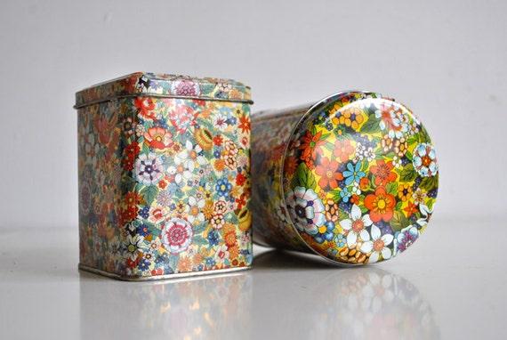 Vintage Floral Tins - Daher Made in England