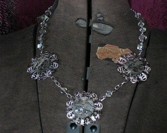Steampunk Glam Vintage Watch Parts Assemblage Necklace