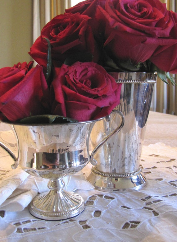 Vintage Shabby Chic Silver Plate Urn Style Julep Cup