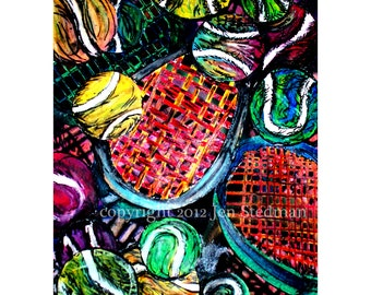 Tennis ball artwork print, red black yellow green and orange colors, hand drawn original art, primary, rgb
