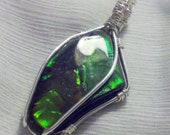 IRIDESCENT Ammolite / Ammonite Orange-Green Color-Changing Fossil Stone Pendant and Necklace Wrapped in 925 Sterling Silver Wire