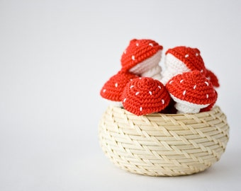 Toadstool Crochet Toy (1 pc) - Baby Rattle, Toy for Toddler, Gift for Baby, Sensory Toy, Eco-Friendl - FrejaToys