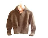 Knitting Cardigan- FREE SHIPPING- Amazing short, wool, hand knit, dark brown cardigan- Knitting cardigan- Medium cardigan- Stylish cardigan