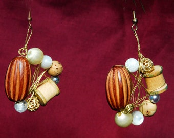 OOAK Country Western Faux Pearl Wire Wrapped Earrings