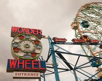 Coney Island Photo, Wonder Wheel Photo, Ferris wheel photo, Brooklyn photo - Wheel of Wonder - 8x10 fine art photograph