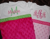 Monogrammed Newborn Baby Girl Gown with Minky Dot- More colors availabe