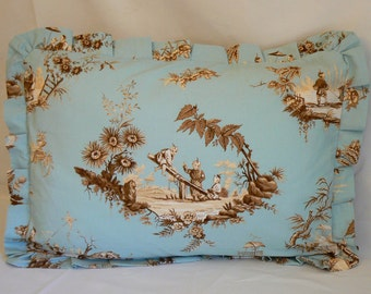 Pillow 28: Blue, tan and cream chinese toile pillow sham