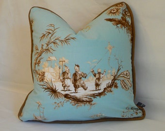 Pillow 29: Blue, tan and cream chinese toile pillow cover with insert.  18 inch square