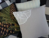 """Cottage Chic Pillow Cover - Shabby Chic Pillow Cover - Doily Pillow Cover - 16"""""""