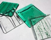 Jade Green and Clear Fused Glass Coasters, 3 1/2 inch