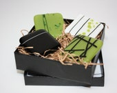 Fused Glass Magnets, Set of 4, Linear Green, Black, and White