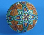 Temari Ball Ornament Blues and Greens on Copper