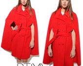 1960s double breasted red wool CLOAK cape coat mod color block OSFM