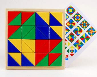 Developing geometrical puzzle - Big triangle parade (for age 3 - 10 )