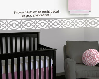 Trellis Nursery Wall Decals - 12 foot border - Pink Gray Nursery - Children Wall Decal - Sticker Vinyl Wall Decal Border